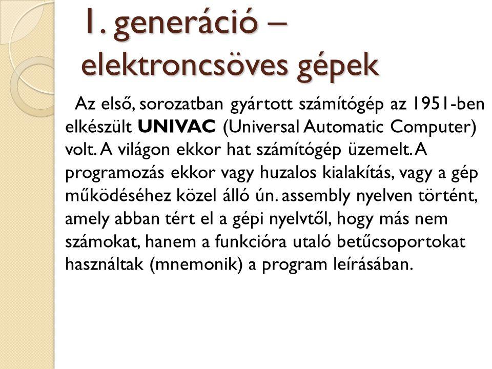 Az első, sorozatban gyártott számítógép az 1951-ben elkészült UNIVAC (Universal Automatic Computer) volt. A világon ekkor hat számítógép üzemelt. A pr