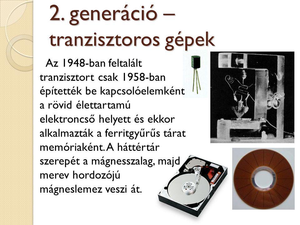 Az 1948-ban feltalált tranzisztort csak 1958-ban építették be kapcsolóelemként a rövid élettartamú elektroncső helyett és ekkor alkalmazták a ferritgy