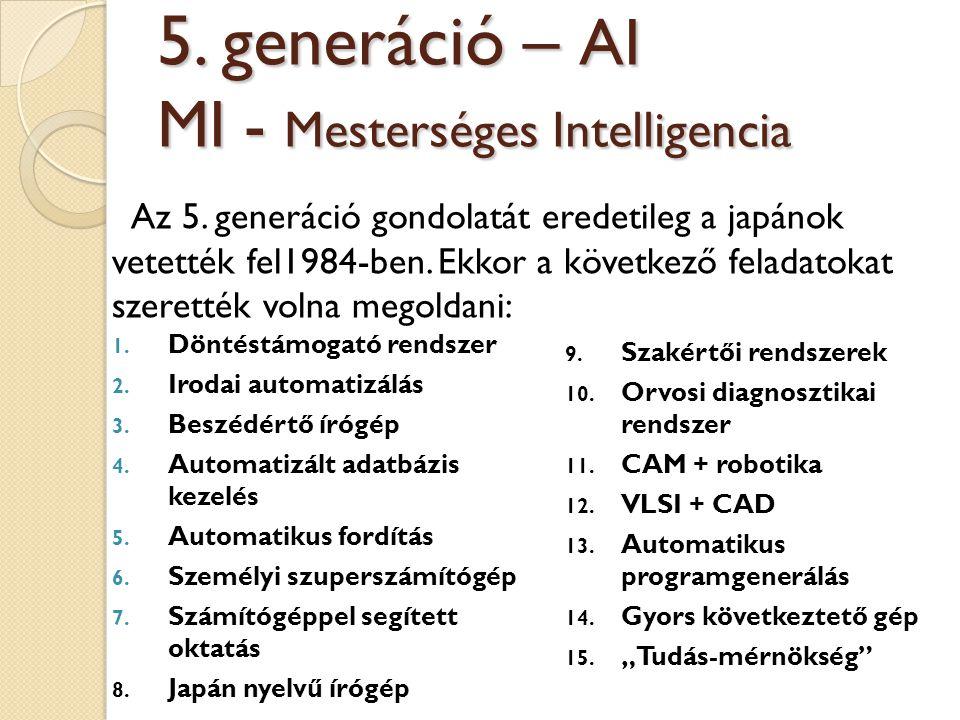 Az 5. generáció gondolatát eredetileg a japánok vetették fel1984-ben. Ekkor a következő feladatokat szerették volna megoldani: 5. generáció – AI MI -
