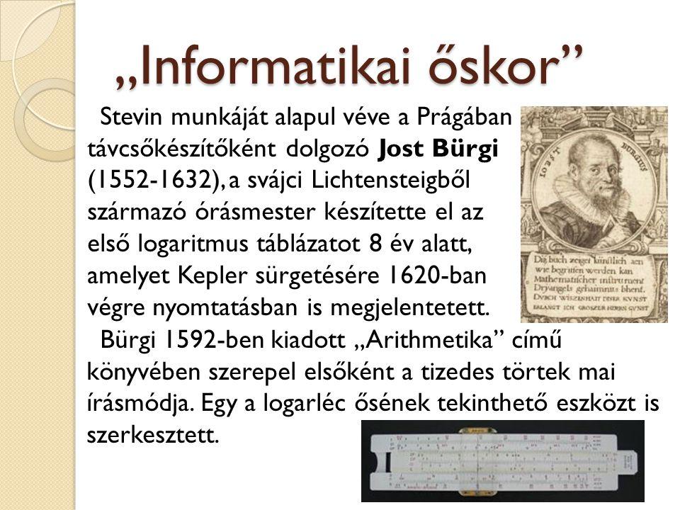 """""""Informatikai őskor"""" Stevin munkáját alapul véve a Prágában távcsőkészítőként dolgozó Jost Bürgi (1552-1632), a svájci Lichtensteigből származó órásme"""