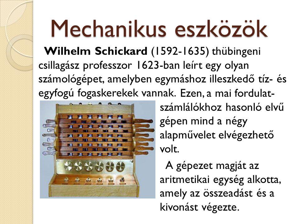 Mechanikus eszközök Wilhelm Schickard (1592-1635) thübingeni csillagász professzor 1623-ban leírt egy olyan számológépet, amelyben egymáshoz illeszked