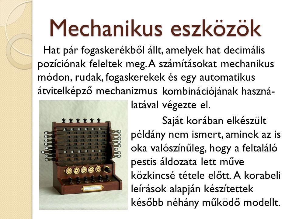 Mechanikus eszközök Hat pár fogaskerékből állt, amelyek hat decimális pozíciónak feleltek meg. A számításokat mechanikus módon, rudak, fogaskerekek és