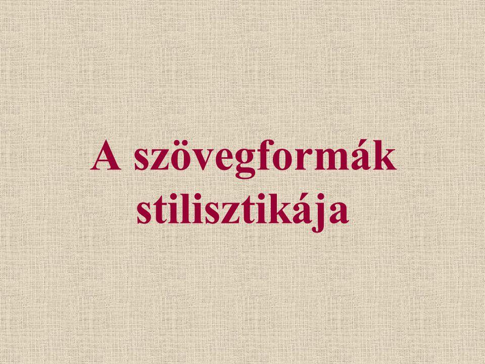 A szövegformák stilisztikája