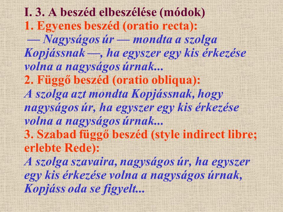 I. 3. A beszéd elbeszélése (módok) 1. Egyenes beszéd (oratio recta): — Nagyságos úr — mondta a szolga Kopjássnak —, ha egyszer egy kis érkezése volna