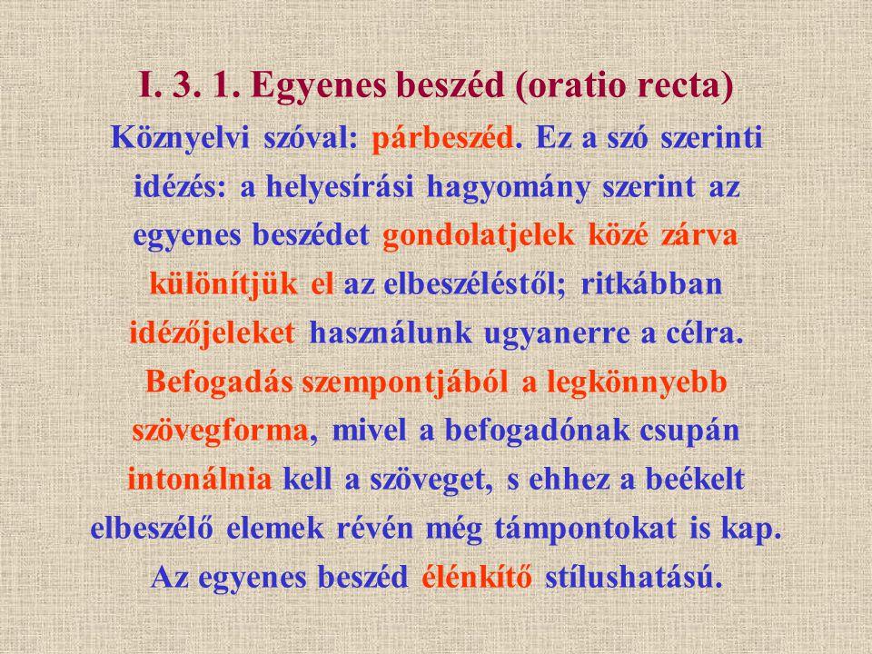 I. 3. 1. Egyenes beszéd (oratio recta) Köznyelvi szóval: párbeszéd. Ez a szó szerinti idézés: a helyesírási hagyomány szerint az egyenes beszédet gond