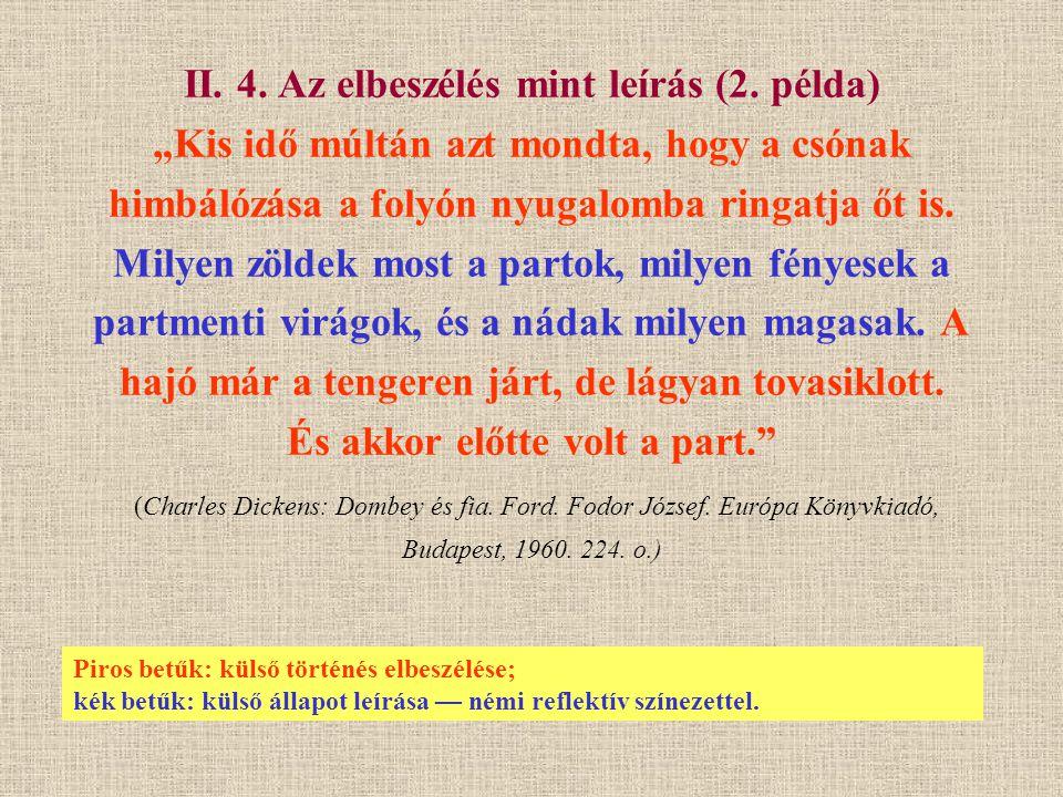 Piros betűk: külső történés elbeszélése; kék betűk: külső állapot leírása — némi reflektív színezettel.