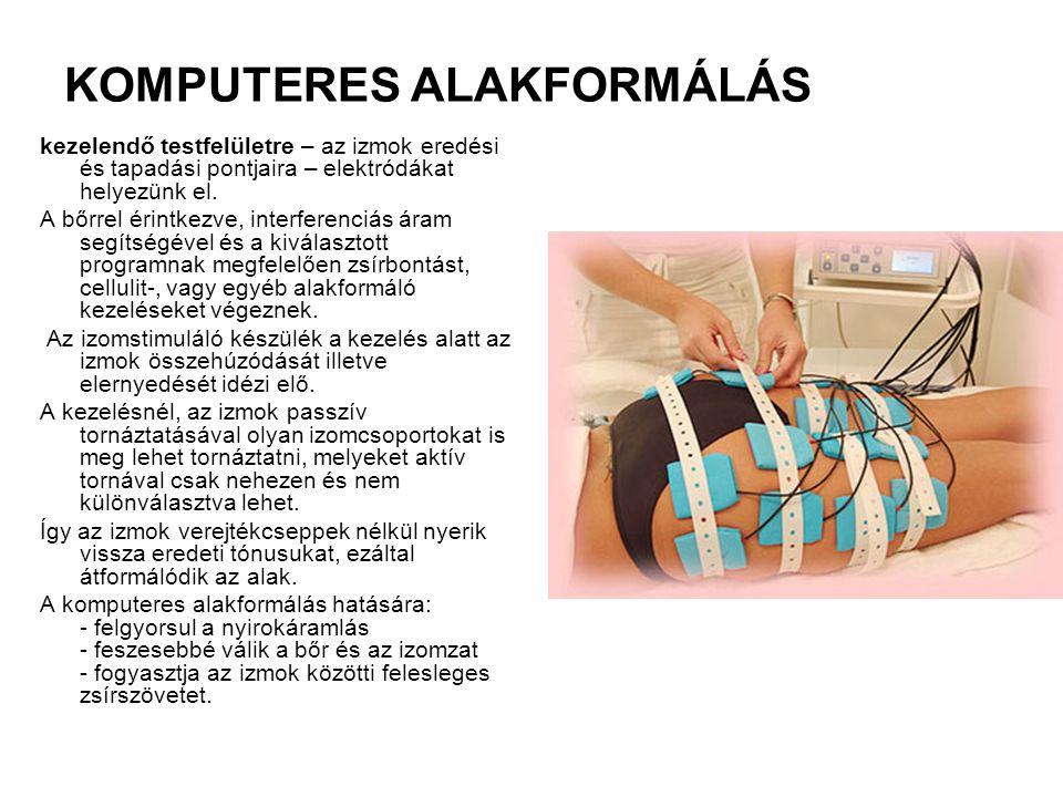 KOMPUTERES ALAKFORMÁLÁS kezelendő testfelületre – az izmok eredési és tapadási pontjaira – elektródákat helyezünk el. A bőrrel érintkezve, interferenc