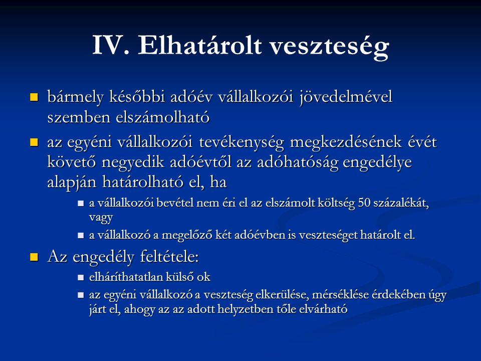IV. Elhatárolt veszteség bármely későbbi adóév vállalkozói jövedelmével szemben elszámolható bármely későbbi adóév vállalkozói jövedelmével szemben el