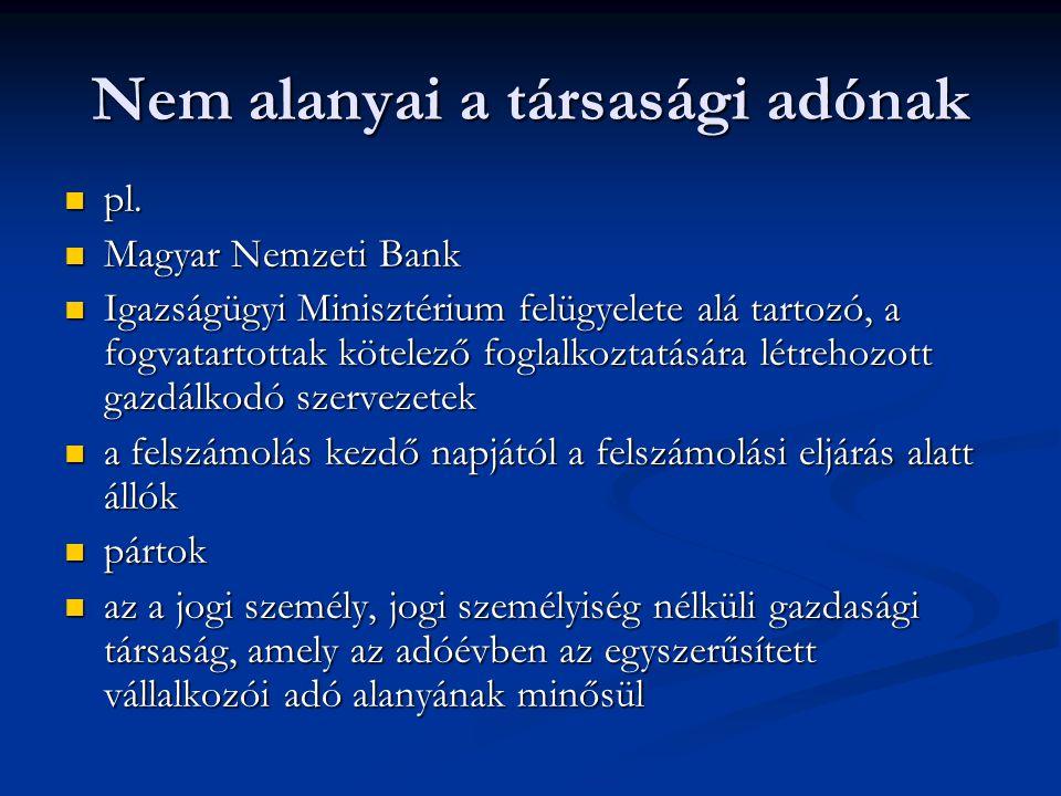 Nem alanyai a társasági adónak pl. pl. Magyar Nemzeti Bank Magyar Nemzeti Bank Igazságügyi Minisztérium felügyelete alá tartozó, a fogvatartottak köte
