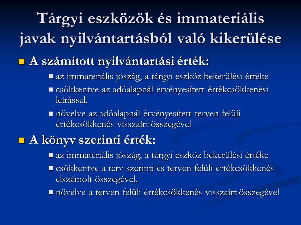Tárgyi eszközök és immateriális javak nyilvántartásból való kikerülése A számított nyilvántartási érték: A számított nyilvántartási érték: az immateri
