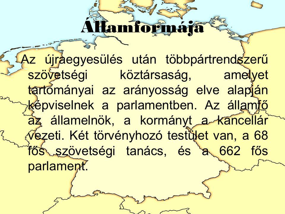 Államformája Az újraegyesülés után többpártrendszerű szövetségi köztársaság, amelyet tartományai az arányosság elve alapján képviselnek a parlamentben