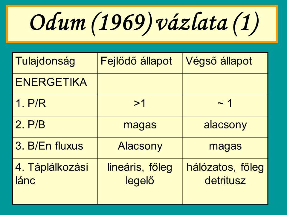 Odum (1969) vázlata (1) TulajdonságFejlődő állapotVégső állapot ENERGETIKA 1. P/R>1~ 1 2. P/Bmagasalacsony 3. B/En fluxusAlacsonymagas 4. Táplálkozási