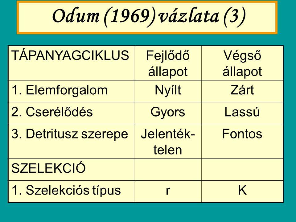 Odum (1969) vázlata (3) TÁPANYAGCIKLUSFejlődő állapot Végső állapot 1. ElemforgalomNyíltZárt 2. CserélődésGyorsLassú 3. Detritusz szerepeJelenték- tel