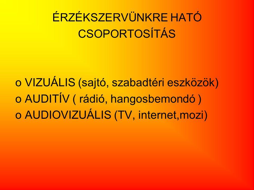 ÉRZÉKSZERVÜNKRE HATÓ CSOPORTOSÍTÁS oVIZUÁLIS (sajtó, szabadtéri eszközök) oAUDITÍV ( rádió, hangosbemondó ) oAUDIOVIZUÁLIS (TV, internet,mozi)