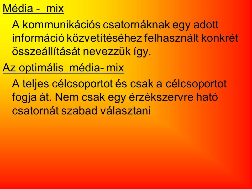 Média - mix A kommunikációs csatornáknak egy adott információ közvetítéséhez felhasznált konkrét összeállítását nevezzük így. Az optimális média- mix