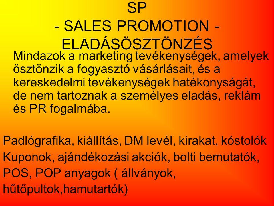 SP - SALES PROMOTION - ELADÁSÖSZTÖNZÉS Mindazok a marketing tevékenységek, amelyek ösztönzik a fogyasztó vásárlásait, és a kereskedelmi tevékenységek
