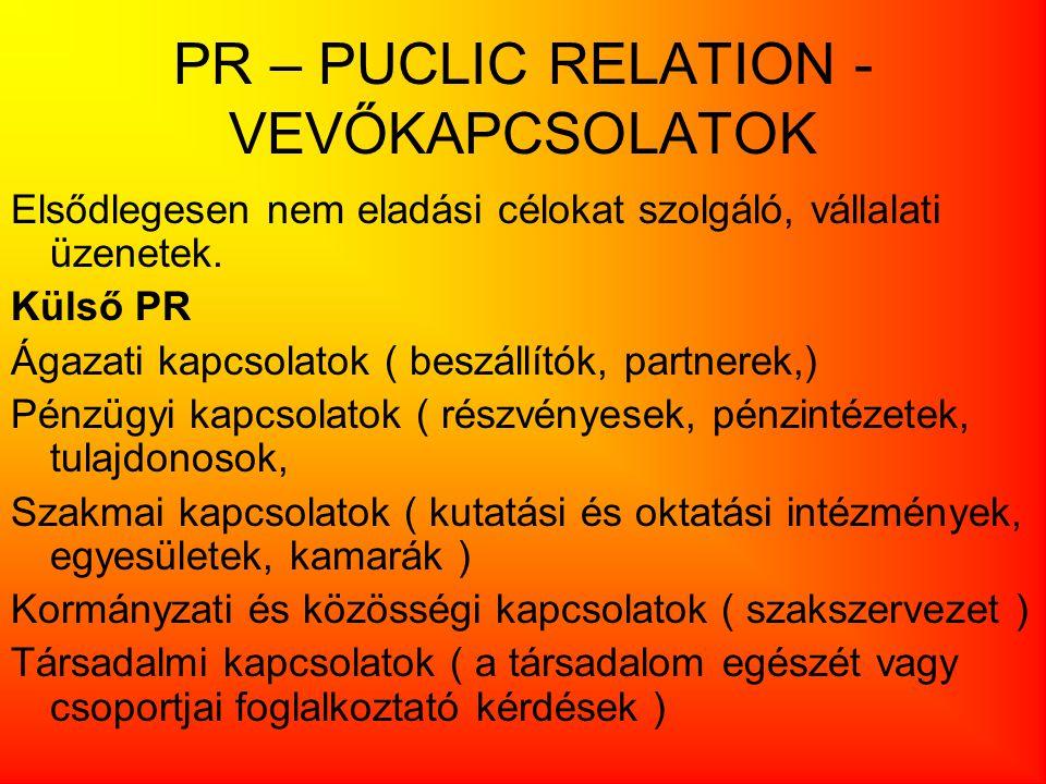 PR – PUCLIC RELATION - VEVŐKAPCSOLATOK Elsődlegesen nem eladási célokat szolgáló, vállalati üzenetek. Külső PR Ágazati kapcsolatok ( beszállítók, part