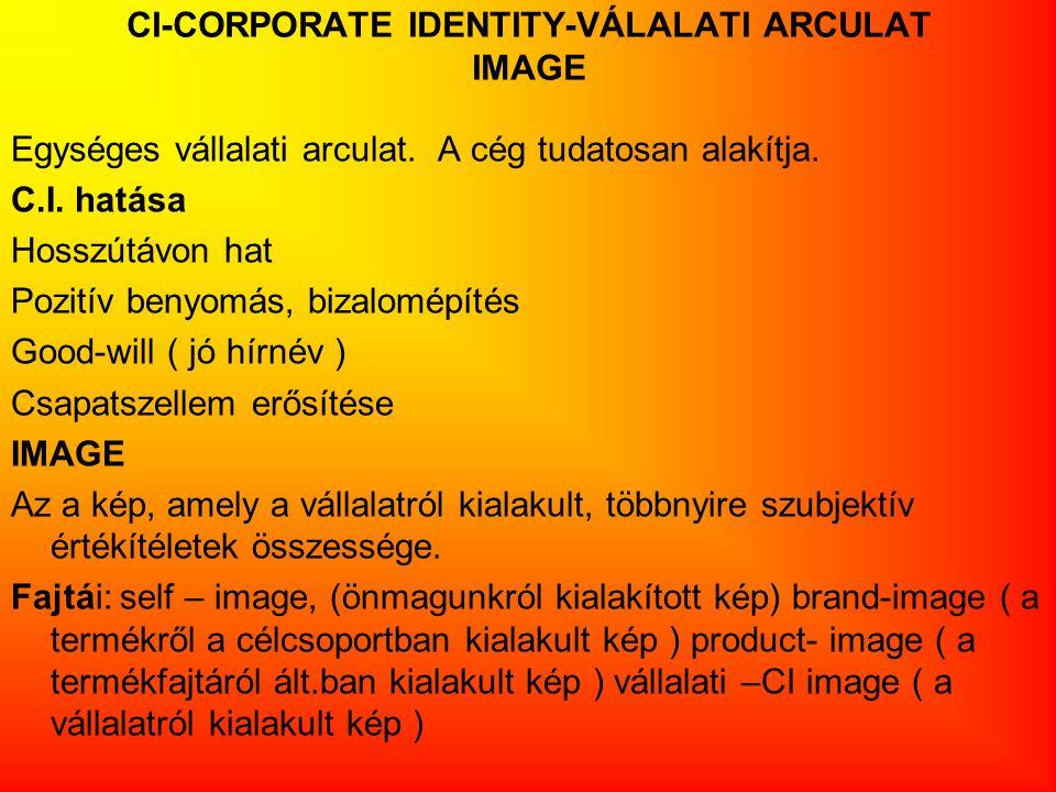 CI-CORPORATE IDENTITY-VÁLALATI ARCULAT IMAGE Egységes vállalati arculat. A cég tudatosan alakítja. C.I. hatása Hosszútávon hat Pozitív benyomás, bizal