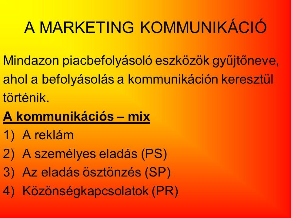 A MARKETING KOMMUNIKÁCIÓ Mindazon piacbefolyásoló eszközök gyűjtőneve, ahol a befolyásolás a kommunikáción keresztül történik.