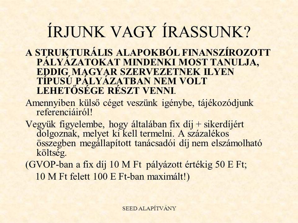 SEED ALAPÍTVÁNY Két HEFOP pályázat 2004/ 3.5. 4.