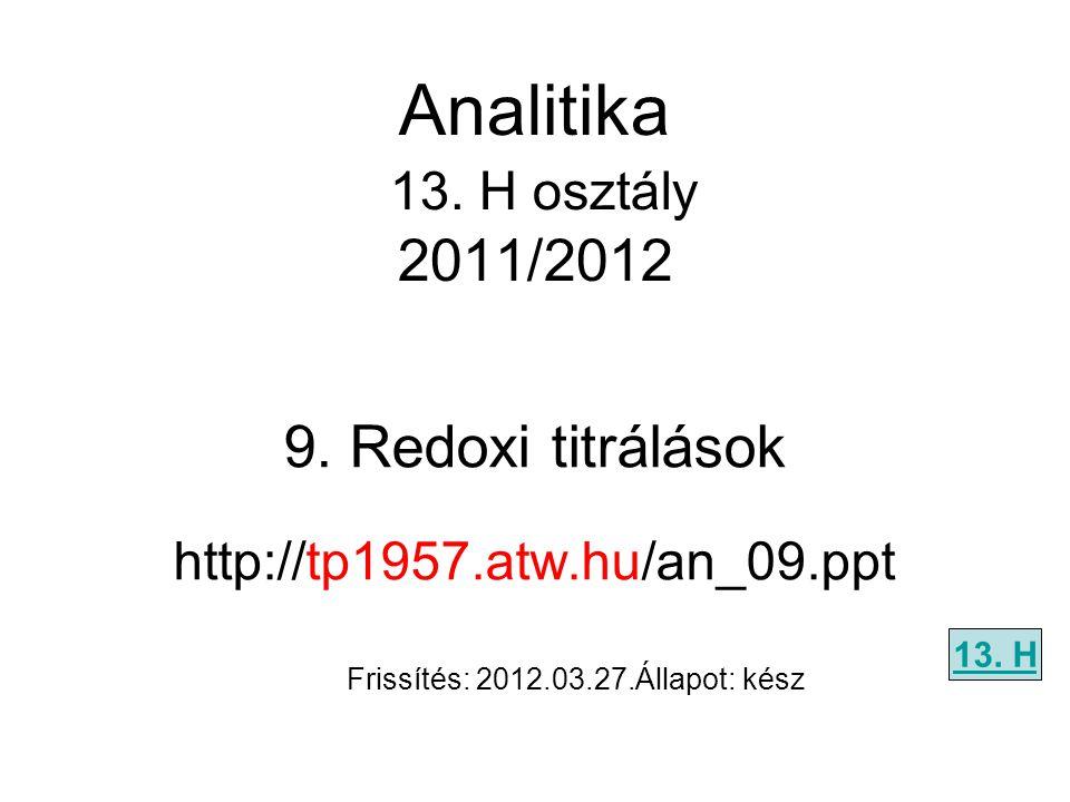 9.Redoxi titrálások http://tp1957.atw.hu/an_09.ppt 13.