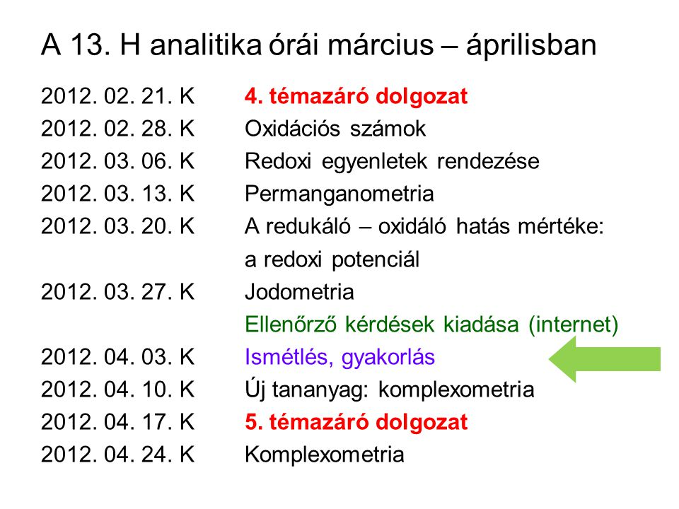 A 13.H analitika órái március – áprilisban 2012. 02.