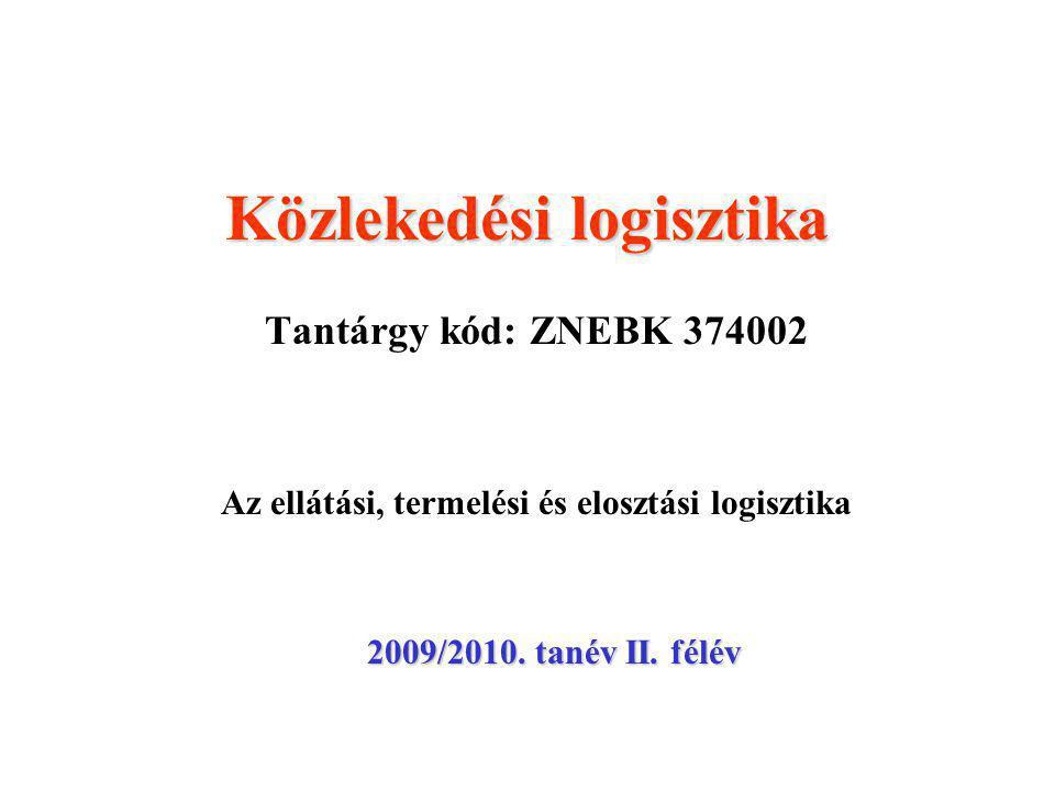 Közlekedési logisztika Tantárgy kód: ZNEBK 374002 Az ellátási, termelési és elosztási logisztika 2009/2010.
