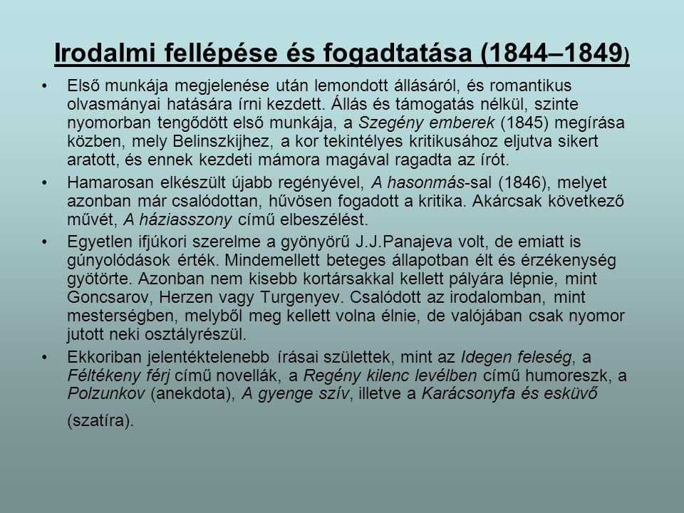 Dosztojevszkijt anyagi és morális sorsa arra késztette, hogy alaposabban körülnézzen és politika-filozófiai gondolatait megfogalmazza.