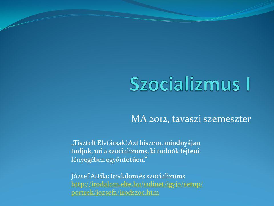 """MA 2012, tavaszi szemeszter """"Tisztelt Elvtársak! Azt hiszem, mindnyájan tudjuk, mi a szocializmus, ki tudnók fejteni lényegében egyöntetűen."""" József A"""