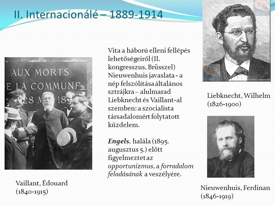II. Internacionálé – 1889-1914 Liebknecht, Wilhelm (1826-1900) Vaillant, Édouard (1840-1915) Nieuwenhuis, Ferdinan (1846-1919) Vita a háború elleni fe