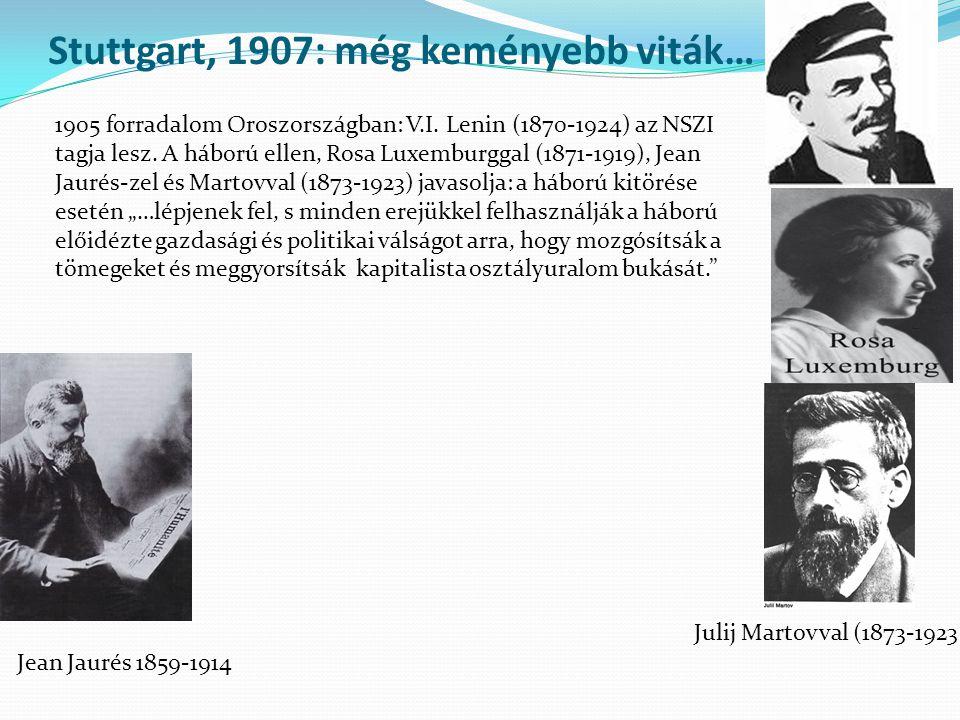Stuttgart, 1907: még keményebb viták… 1905 forradalom Oroszországban: V.I. Lenin (1870-1924) az NSZI tagja lesz. A háború ellen, Rosa Luxemburggal (18