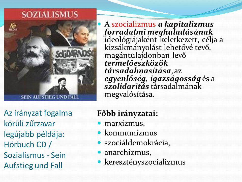 Az irányzat fogalma körüli zűrzavar legújabb példája: Hörbuch CD / Sozialismus - Sein Aufstieg und Fall A szocializmus a kapitalizmus forradalmi meghaladásának ideológiájaként keletkezett, célja a kizsákmányolást lehetővé tevő, magántulajdonban levő termelőeszközök társadalmasítása, az egyenlőség, igazságosság és a szolidaritás társadalmának megvalósítása.