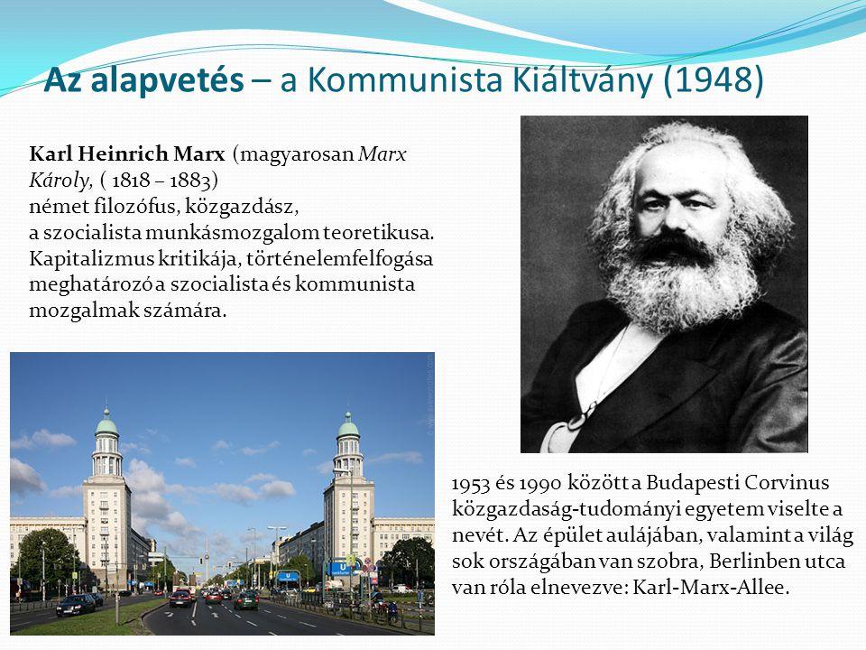 Az alapvetés – a Kommunista Kiáltvány (1948) Karl Heinrich Marx (magyarosan Marx Károly, ( 1818 – 1883) német filozófus, közgazdász, a szocialista munkásmozgalom teoretikusa.