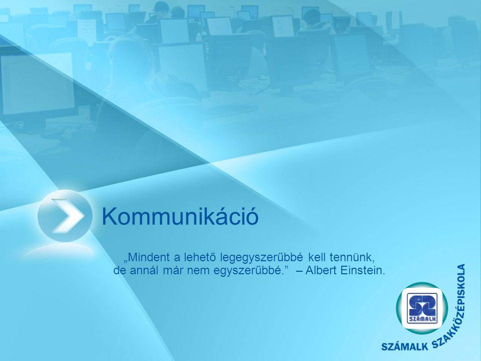 """Kommunikáció """"Mindent a lehető legegyszerűbbé kell tennünk, de annál már nem egyszerűbbé. –Albert Einstein."""