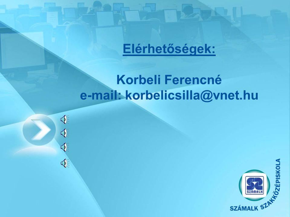 Elérhetőségek: Korbeli Ferencné e-mail: korbelicsilla@vnet.hu