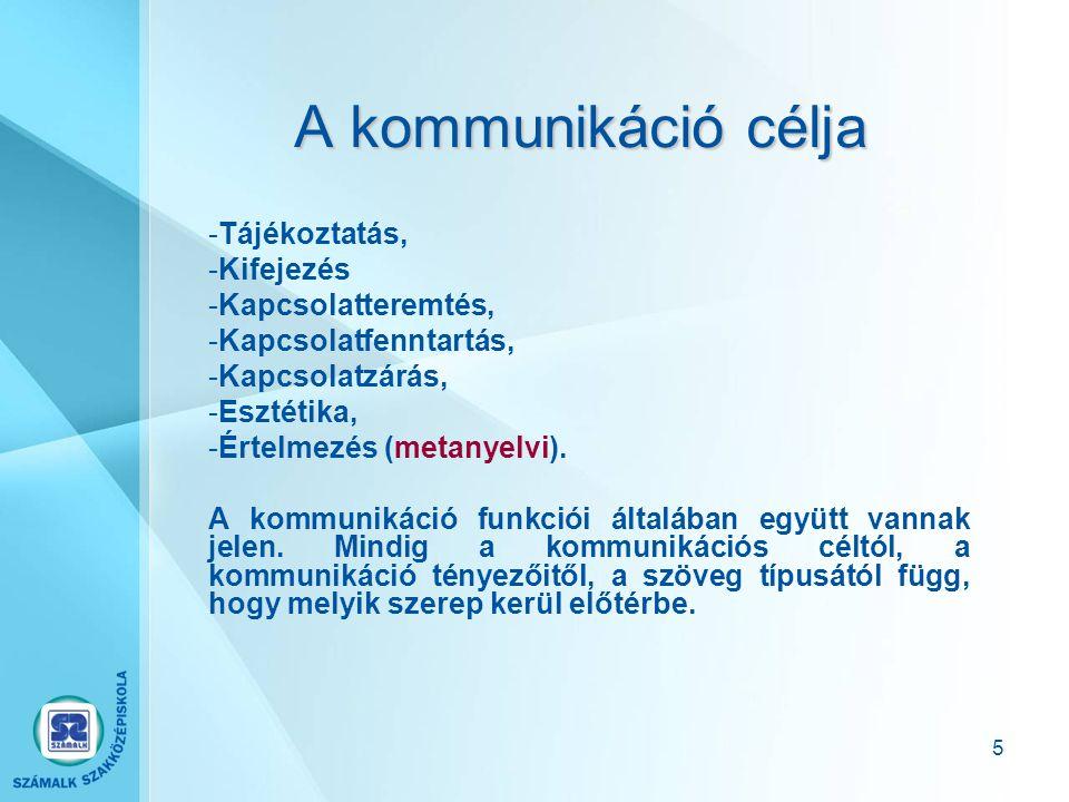 5 A kommunikáció célja -Tájékoztatás, -Kifejezés -Kapcsolatteremtés, -Kapcsolatfenntartás, -Kapcsolatzárás, -Esztétika, -Értelmezés (metanyelvi).