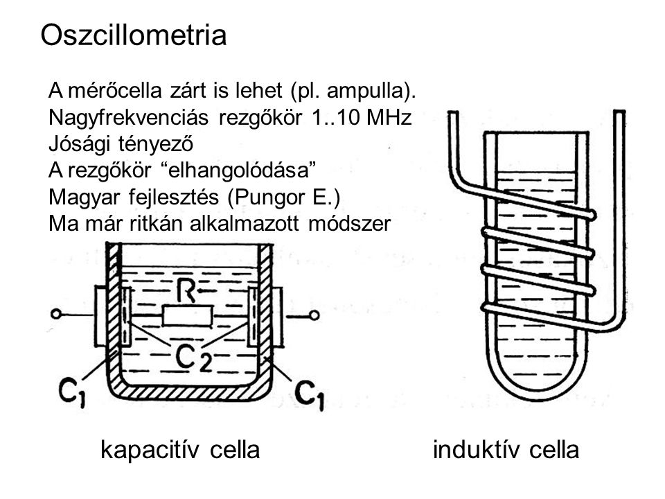 """Oszcillometria kapacitív cellainduktív cella A mérőcella zárt is lehet (pl. ampulla). Nagyfrekvenciás rezgőkör 1..10 MHz Jósági tényező A rezgőkör """"el"""
