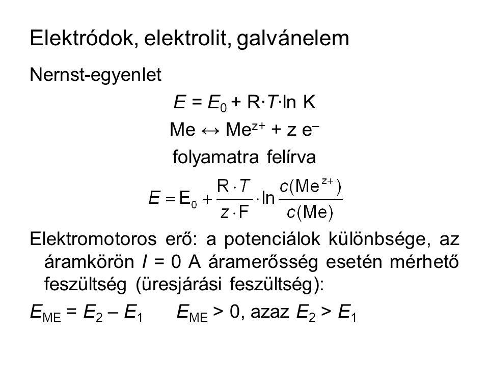 Elektródok, elektrolit, galvánelem Nernst-egyenlet E = E 0 + R·T·ln K Me ↔ Me z+ + z e – folyamatra felírva Elektromotoros erő: a potenciálok különbsége, az áramkörön I = 0 A áramerősség esetén mérhető feszültség (üresjárási feszültség): E ME = E 2 – E 1 E ME > 0, azaz E 2 > E 1