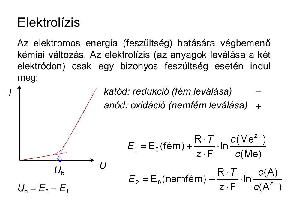 Az elektromos energia (feszültség) hatására végbemenő kémiai változás. Az elektrolízis (az anyagok leválása a két elektródon) csak egy bizonyos feszül