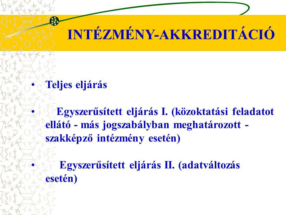 Teljes eljárás Egyszerűsített eljárás I. (közoktatási feladatot ellátó - más jogszabályban meghatározott - szakképző intézmény esetén) Egyszerűsített
