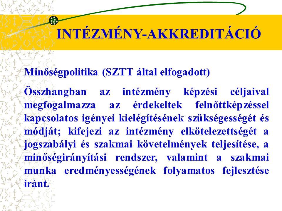 INTÉZMÉNY-AKKREDITÁCIÓ Minőségpolitika (SZTT által elfogadott) Összhangban az intézmény képzési céljaival megfogalmazza az érdekeltek felnőttképzéssel