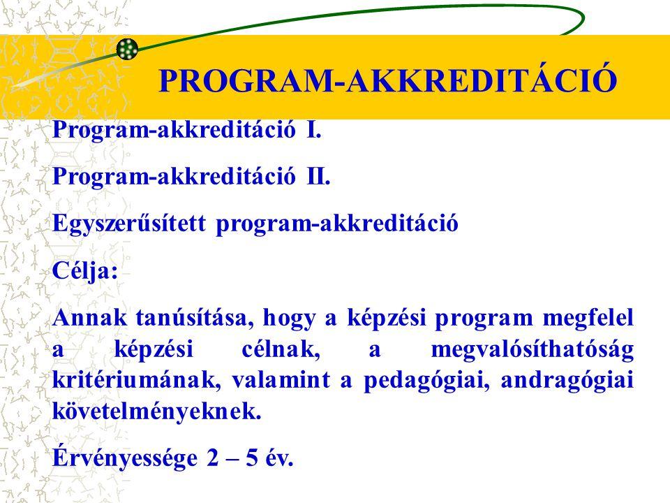 PROGRAM-AKKREDITÁCIÓ Program-akkreditáció I. Program-akkreditáció II. Egyszerűsített program-akkreditáció Célja: Annak tanúsítása, hogy a képzési prog