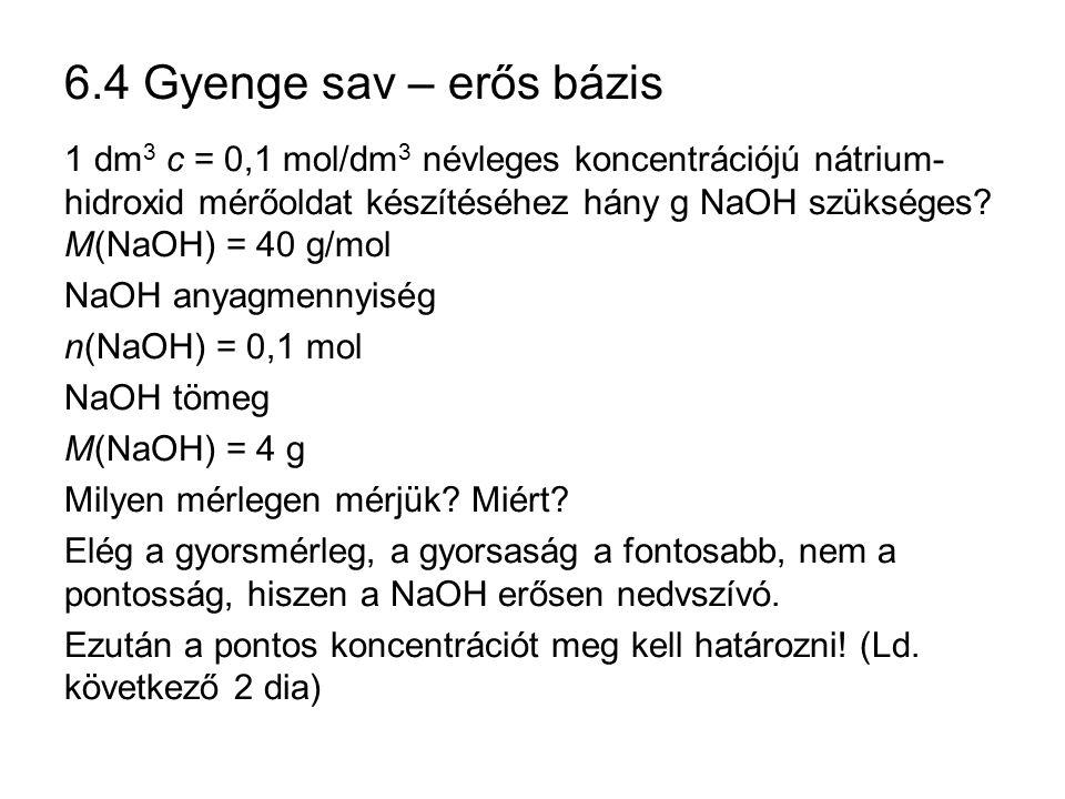 6.4 Gyenge sav – erős bázis 1 dm 3 c = 0,1 mol/dm 3 névleges koncentrációjú nátrium- hidroxid mérőoldat készítéséhez hány g NaOH szükséges? M(NaOH) =