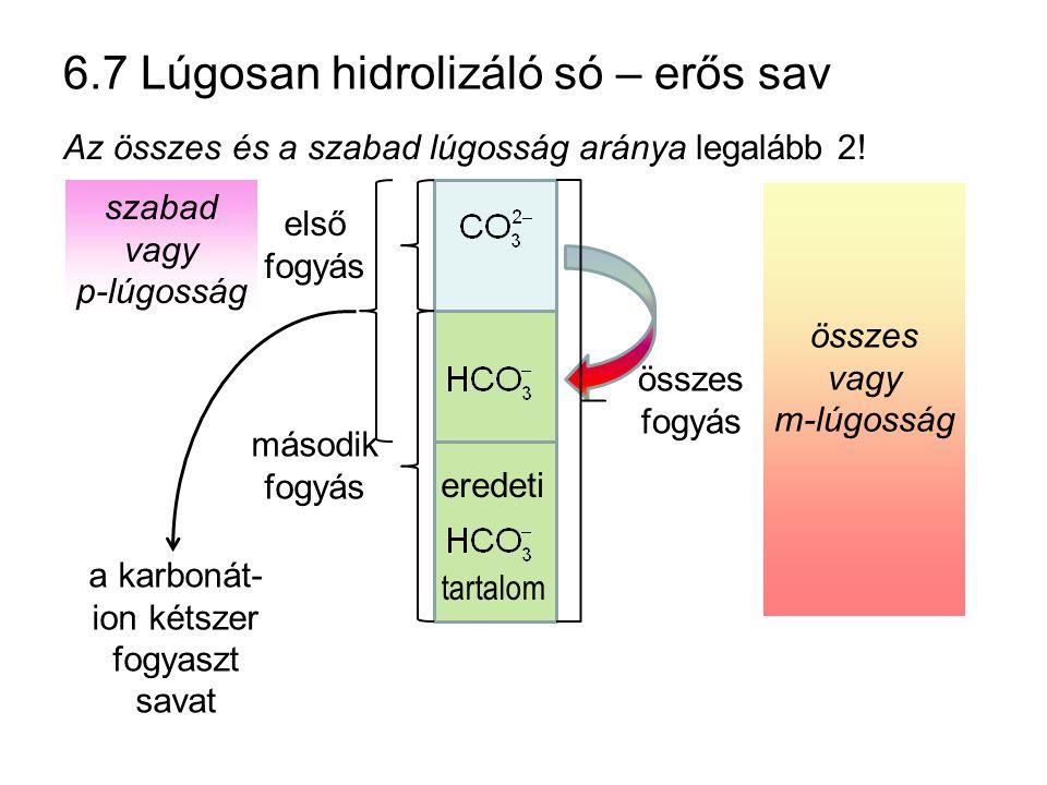szabad vagy p-lúgosság összes vagy m-lúgosság 6.7 Lúgosan hidrolizáló só – erős sav Az összes és a szabad lúgosság aránya legalább 2! eredeti tartalom