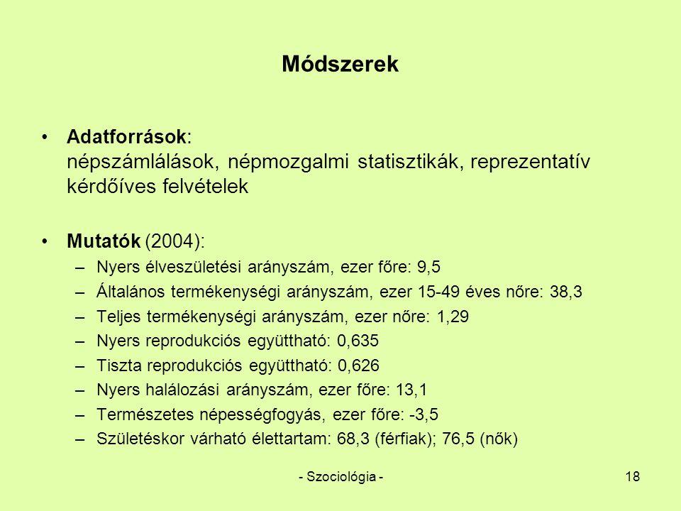 - Szociológia -18 Módszerek Adatforrások : népszámlálások, népmozgalmi statisztikák, reprezentatív kérdőíves felvételek Mutatók (2004): –Nyers élveszü