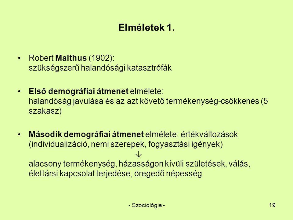 - Szociológia -19 Elméletek 1. Robert Malthus (1902): szükségszerű halandósági katasztrófák Első demográfiai átmenet elmélete: halandóság javulása és