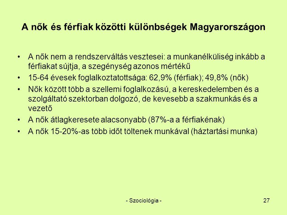 - Szociológia -27 A nők és férfiak közötti különbségek Magyarországon A nők nem a rendszerváltás vesztesei: a munkanélküliség inkább a férfiakat sújtj