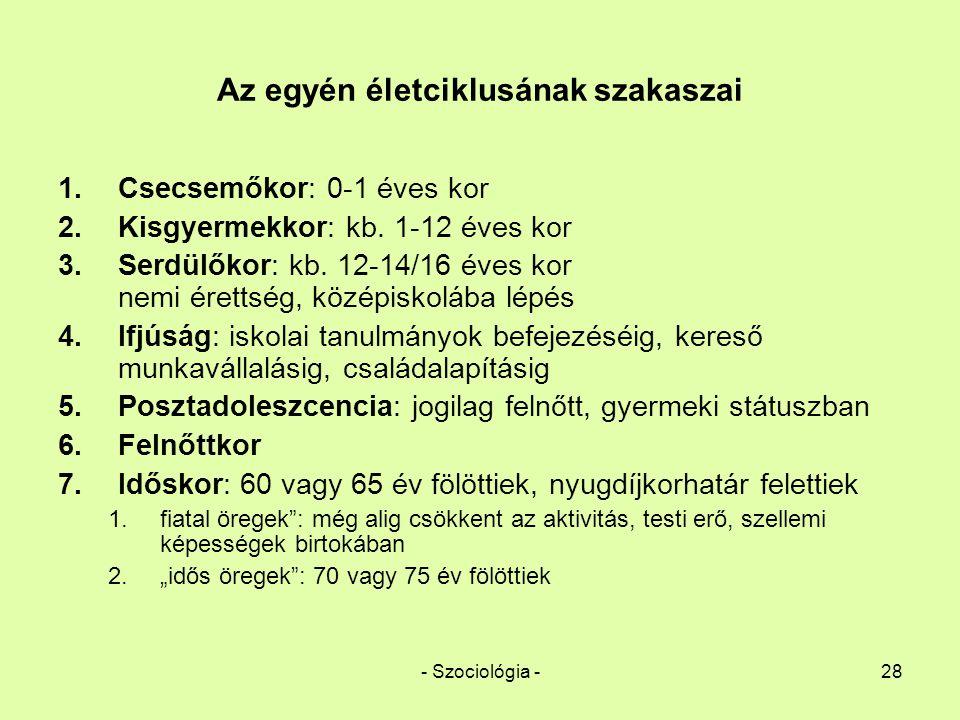 - Szociológia -28 Az egyén életciklusának szakaszai 1.Csecsemőkor: 0-1 éves kor 2.Kisgyermekkor: kb. 1-12 éves kor 3.Serdülőkor: kb. 12-14/16 éves kor