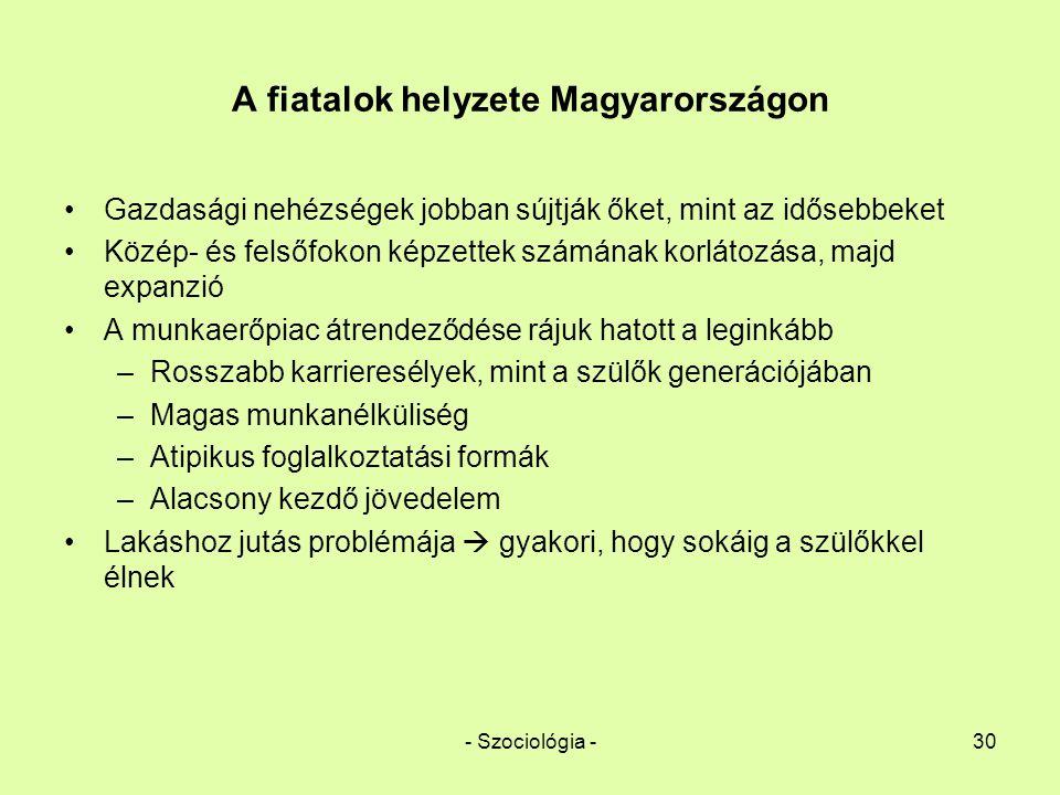 - Szociológia -30 A fiatalok helyzete Magyarországon Gazdasági nehézségek jobban sújtják őket, mint az idősebbeket Közép- és felsőfokon képzettek szám