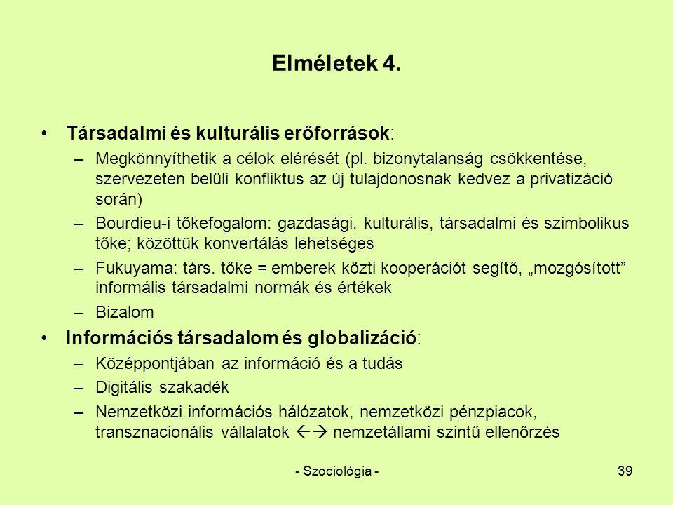 - Szociológia -39 Elméletek 4. Társadalmi és kulturális erőforrások: –Megkönnyíthetik a célok elérését (pl. bizonytalanság csökkentése, szervezeten be